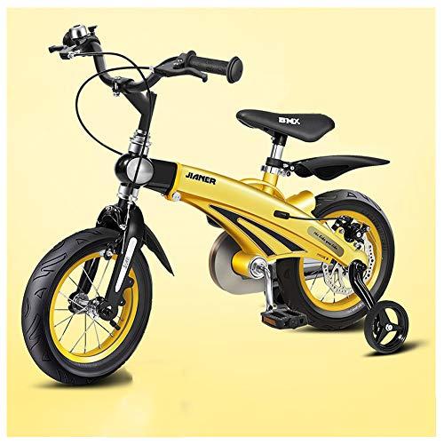 Rclhh Kinderfahrrad für 3-6 Jahre Mädchen & Jungen, 12, 14 und 16 Zoll Kinderfahrräder, Scheibenbremsen, einziehbar, stilvoll,Gelb,12in