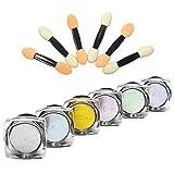 Becoyou 6 Uñas Brillo Polvo Espejo Cromo Polvo para Maquillaje Uñas DIY con El Palillo de La Esponja