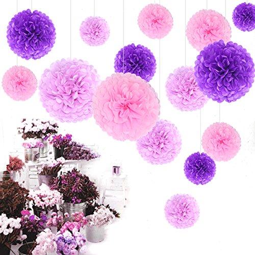 Himeland 15 Mixed Pompons(Lila Lavendel Rosa) | Papier Pompoms Blume Set | Dekokugel Deko für Hochzeit Wedding Geburtstag