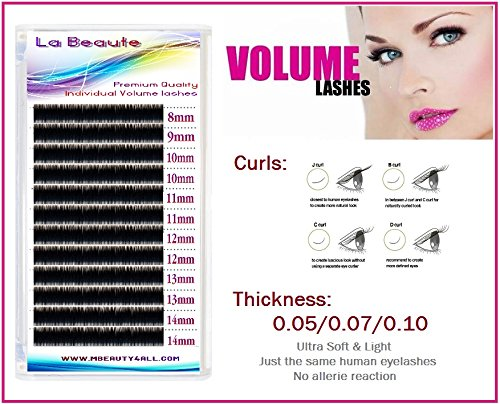 Labeaute russo xd volume lashes individual eyelash extensions 0.05/c-curl (mix (8 – 14 mm))