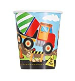 Unique Party 52076 - Bicchieri di Carta - 266 ml - Festa a Tema Edile - Confezione da 8