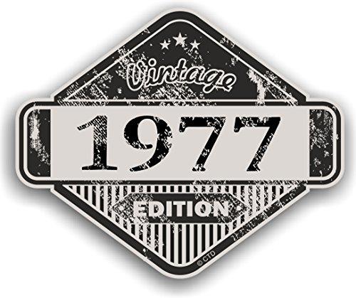 Distressed envejecido Vintage 1977Edition Classic Retro vinilo coche moto Cafe Racer Casco Adhesivo Insignia 85x 70mm
