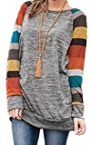 ECOWISH Langarmshirt Damen Lose Oversize Pullover Gestreift Rundhals Tshirt Hemd Oberteile Tops Orange 2XL