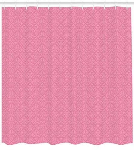 ABAKUHAUS Blasses Rosa Duschvorhang, Rokoko-Damast, Trendiger Druck Stoff mit 12 Ringen Farbfest Bakterie und Wasser Abweichent, 175 x 200 cm, Pink Pale Pink (Lange Damast-duschvorhang)