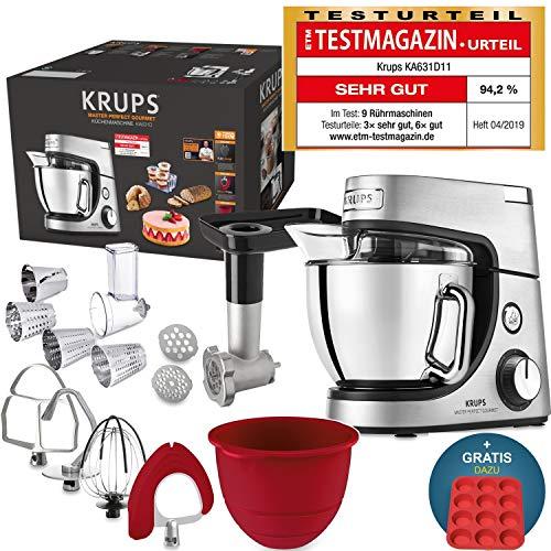 Robot de cuisine Krups Premium 17 pièces, bol inox 4,6 l, bol silicone, 4 malaxeurs inox, lavable...