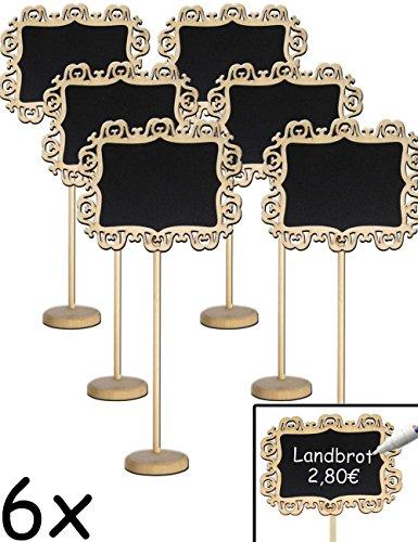 HOMETOOLS.EU - 6x Klassische Tisch Tafel Holz mit Stand-Fuß beschreibbar | Buffet, Party, Feier,...