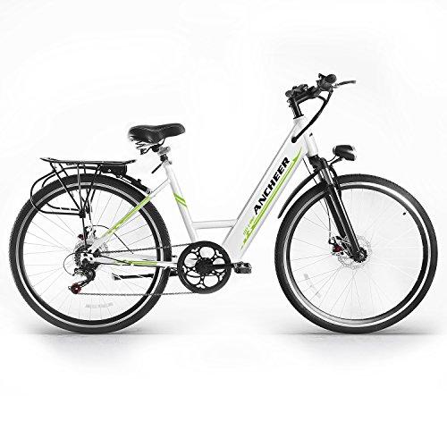 ANCHEER Elektrofahrrad, 26 Zoll Urben E-bike mit 250W bürstenlosem Motor und 36V 10Ah Lithium-Batterie Shimano 6-Gang (Weiß)