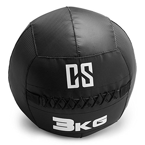 Capital Sports Bravor • Medizinball • Wall Ball • Fitness Ball • Krafttraining • Ausdauertraining • Functional Training • extrem griffige Oberfläche • Studio Qualität • schwarz • Gewicht: 3 kg (Wohnung Medizin-ball)