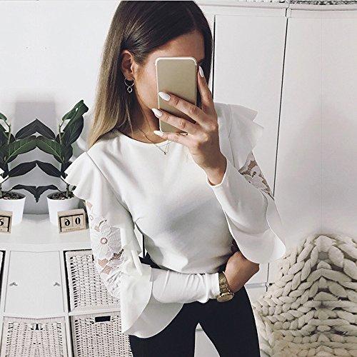 LEvifun Donna Rotondo Collo Camicetta Elegante Increspatura Pizzo Patchwork Casuale Sciolto Camicie Moda Manica Lunga Shirts Pullover Tops Bianca