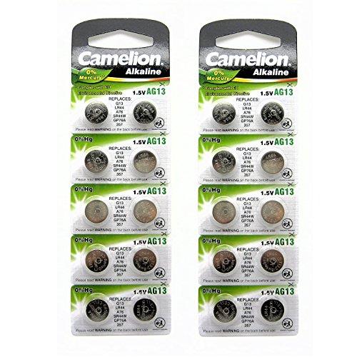 Zwanzig-20-X-Camellion-AG13-L1154-LR44-A76-157-V13GA-RW82-0-Quecksilber-Alkaline-Batterie-20-Stck-verwendet-in-Uhren-Taschenrechner-Spielzeug-Laserpointer-Uhren-Thermometer-und-viele-andere-elektronis