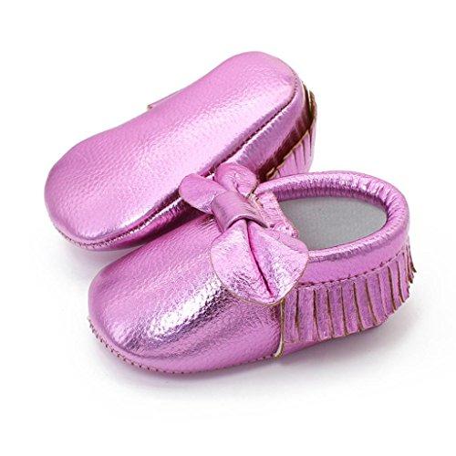 Saingace® fille nouveau-né bébé chaussures souples chaussures antidérapantes berceau chaussures à semelle souple (13, Violet) Violet