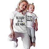 Ansenesna Mutter und Tochter Baby Outfits Eltern Kind Outfits Familien Matching Kleidung Damen Kurzarm T-Shirt Freizeit Sport Bluse Tops (Mutter, M)