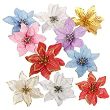 SGerste - 10 adornos de flores artificiales con purpurina para árbol de Navidad, boda,