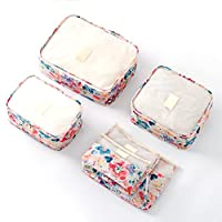 JWTX 6pcs Travel Organisers Waterproof Pouch Set Packing Cubes Laundry Bags-in-Bag Travel Essential (Pink Flower)