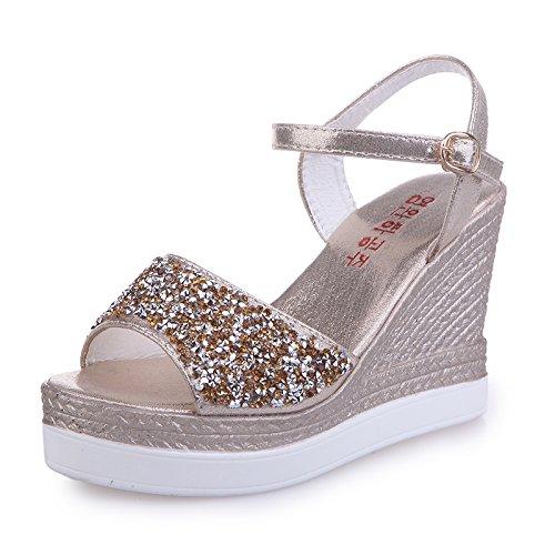 Lgk & fa sandali da donna estate MS. Xia sandali tacco acqua acqua da tavolo diamante tacchi alti toe scarpe Golden