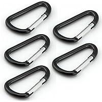 Juego de 5 piezas de ganchos de aluminio mosquetón lote de para la escalada o senderismo grande negro