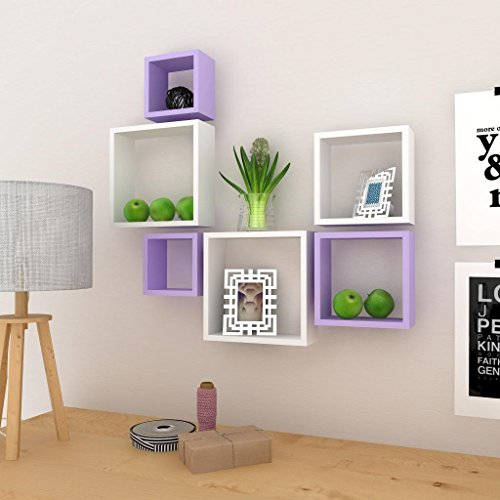 USHA Furniture Square Shape Wall Shelf set of Six (White & Purple)