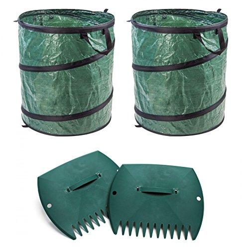 DeTec Pop up Sack Laubsack Abfallsack Garten Abfall Sack S 80 Liter (2 St.) + Laubkralle Laubsammler