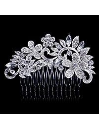 Dooppa - Peine para el pelo de novia, diseño de flores