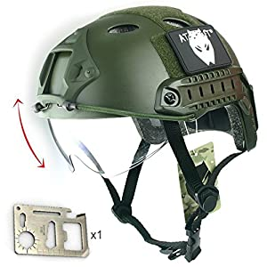 b8d8801f4e9 Casco con gafas protectoras de estilo militar para airsoft y paintball,  color verde