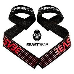 Beast Gear Profi Zughilfen für Fitness & Bodybuilding - Professionelle, Gepolsterte Lifting Straps mit Griffhilfe
