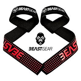 Beast Gear Cinghie Sollevamento Pesi Cinghie Professionali con Imbottitura Avanzata ed Impugnature di Gel Flessibile