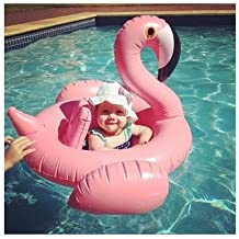 Asamoom Flotador para Bebé Flamenco Anillo de Natación Lindo Rosa Inflable Asiento de la Piscina Barco