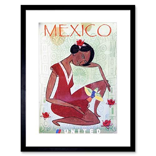 TRAVEL Mexico United Airline Bird AD Framed Art Print Picture F12X1406 - Poster United Airlines