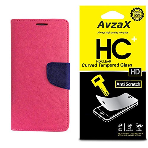 Avzax Flip Cover With Magnetic Closure (Pink) with Tempered Glass For HTC Desire 828
