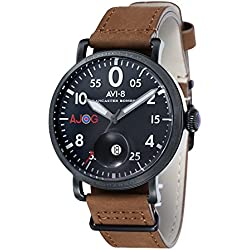 AVI-8 Men's Lancaster Bomber Special Edition Quartz Watch with Black Dial and Brown Leather Strap AV-4049-03