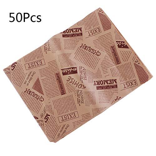 xiuJUNhoho 50 Stücke Wachspapier Lebensmittelqualität Fett Papier Lebensmittelverpackungen Geschenkpapier -