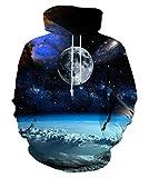 EOWJEED Giacca di felpa della nuova maglia del Hoodie di modo di stampa digitale 3d XXL