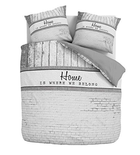 Aminata – gestreifte Bettwäsche 135x200 cm Baumwolle + Reißverschluss zum Wenden Schriftzug HOME Wendebettwäsche Grau Weiß Holz Stein Muster Streifen Bettwäscheset Ganzjahres Bettbezug Normalbettgröße