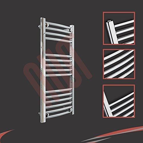 400mm (w) x 800mm (h) - Radiateur sèche-serviettes incurvé chromé Barre Horizontale Diamètre: 22mm, Bar Modèle: 4 + 5 + 6