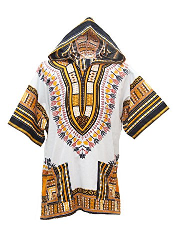 Lofbaz Unisex Dashiki Traditionelles Oberteil mit afrikanischem Druck Design #1 Weiß und Orange