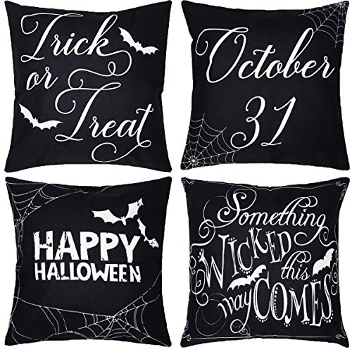 Neusky 4er Set Dekorativ Kissenbezug Kissenhülle Halloween Muster 45 x 45cm Sofa Büro Dekor Kissenhülle aus Baumwoll und Leinen (Schwarz-Halloween)