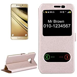 Crazy4Gadget For Samsung Galaxy C5 / C500 Silk Texture Horizontal Flip Solid Color Leather Case with Call Display ID (Gold)