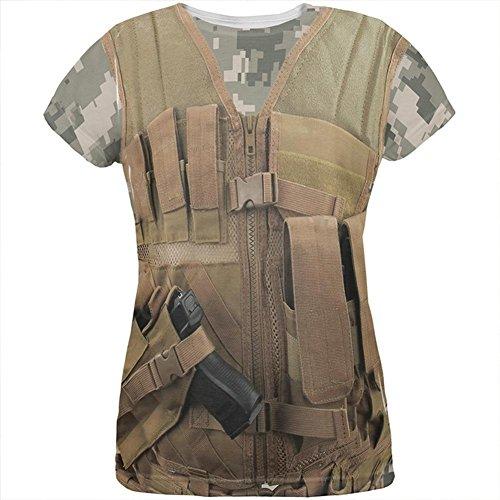 tische militärische Weste Kostüm aller Damen-T-Shirt Multi SM (Halloween-wüsten)