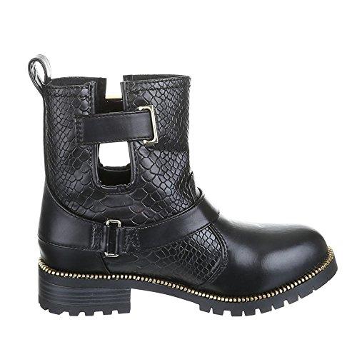 Stiefeletten Gothic Damen Schuhe Biker Boots Warm gefüttert Kroko Look Schwarz 36 37 38 39 40 41 Schwarz