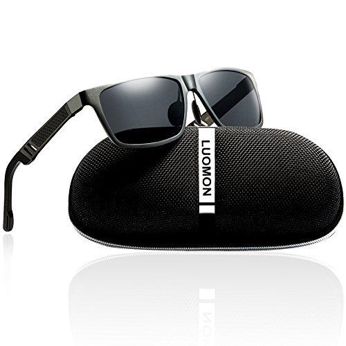 LUOMON Men's Polarized Wayfarer Sunglasses Al-Mg Aloy Grey Frame/Grey Rectangular Lens Unbreakable Frame LM031