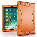 Armera iPad 9.7 Zoll 2018 2017 Hülle - [Welle Stoßstange Serie] Leichte Rutschfeste Stoßfeste Silikon Schutzhülle Tasche Case Cover für Apple iPad 9,7'' 2018/2017 Modell, Orange