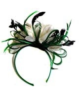 Green and Cream Feather Hair Fascinator Headband Wedding and Royal Ascot Races Ladies