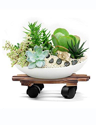 XIAOLIN- Plus épais Tous bois massif réceptacle peut bouger Roulette Porte-fleurs Base avec frein intérieur Bonsaï support -Cadre de finition de fleurs (taille : 30cm)