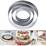 Zreal 3 pcs Moule Cercle à Gateau en Acier Inoxydable Cercle à Pâtisserie Rond en Inox Cookie Cutter Cadre Moule Entremet Fon