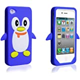 Yousave Accessories Silicone Penguin Case for iPhone 4 - Blue