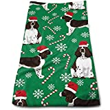 Christmas English Springer Spaniel Santa Paws Multi-Purpose Microfiber Towel Ultra Compact Super Absorbent and Fast Drying Sports Towel Travel Towel Beach Towel Perfect for Camping, Gym, Swimming.