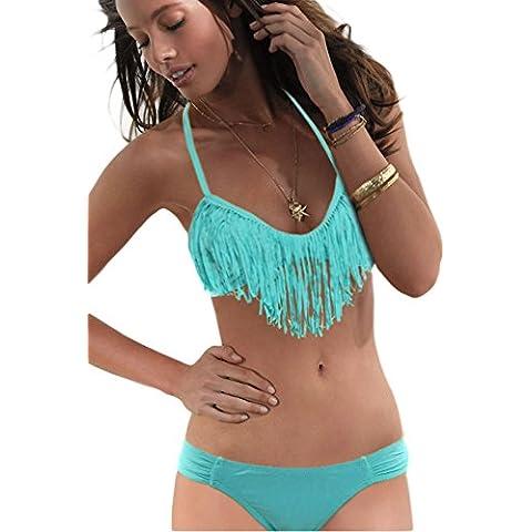 Flecos Bikini Top y parte inferior verde, bañadores,, tamaño M UK 10UE 38