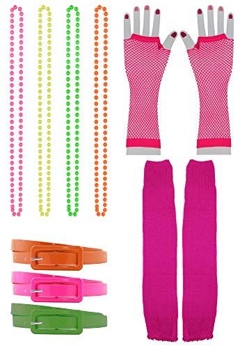 Foxxeo 11 teiliges 80er Jahre Neon Damen Kostüm Set für Fasching & Karneval - Gürtel, Stulpen, Netzhandschuhe, Ketten (Bad Elf Kostüm)