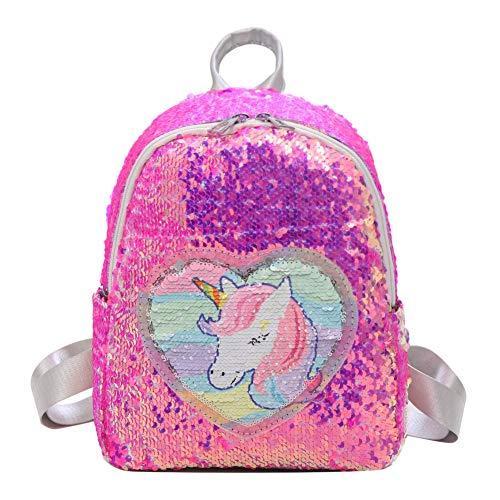 Demiawaking Zaino con Paillettes Glitterati Zainetto Glitter Carino Bambina Zaino da Viaggio Casual Borsa da Scuola per Bambina Ragazze (Rosa rossa)