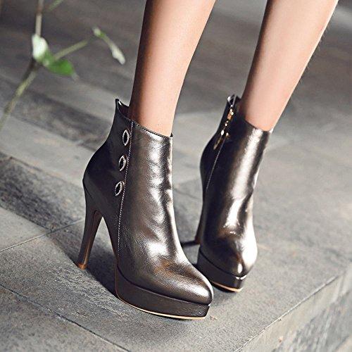 Mee Shoes Damen Plateau mit Strass Reißverschluss high heels Ankle Boots Taupe